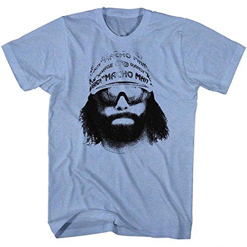 Macho Man WWF Randy Savage Bandana Sunglasses Face Graphic Adult T-Shirt Neon Blue ()