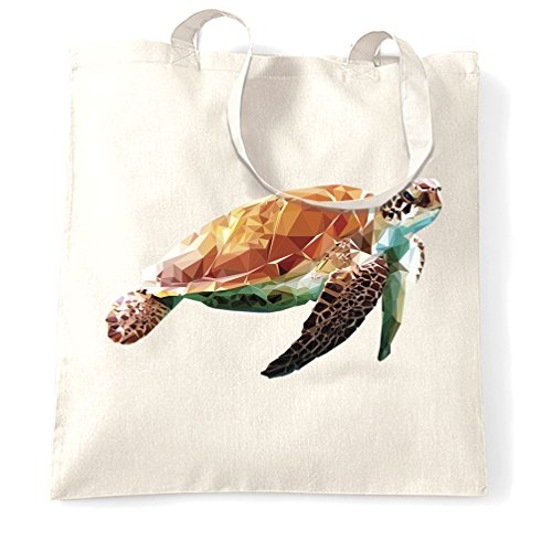 Sea Life Art Tote Bag Low Poly Turtle Graphic Natural One Size White