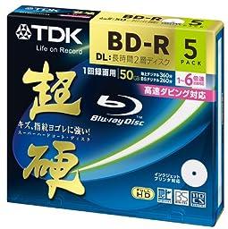 TDK Blu-ray Disc  50 GB 6X Speed BD-R DL, Printable discs, 5 Pack in Jewel case
