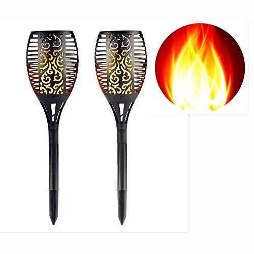 Eleoption LED Solar Lights Outdoor Pathway, Path Garden Lights Decorative Waterproof Dusk to Dawn Auto On/Off Flickering Flames Torches Lighting for Patio Deck Yard Driveway Decoration (2 Sets)