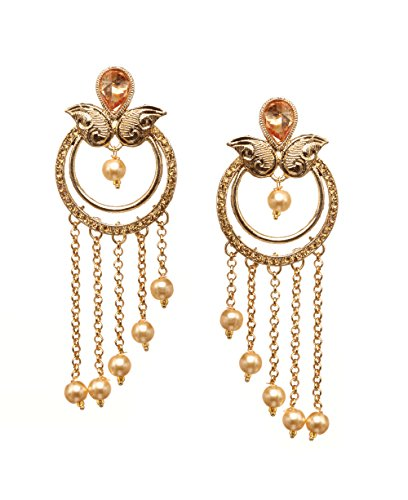 Bindhani Premium Wedding Bollywood Jewelry Golden Stone Bahubali Devsena Style Indian Long Chain Dangle Earrings For ()