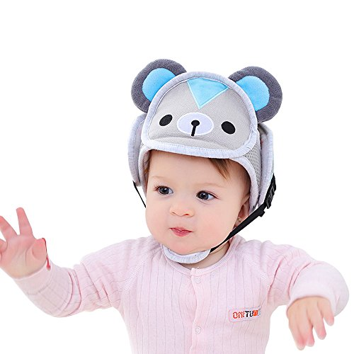 Baby Safety Headguard Adjustable Infant Head Protector Breathable Helmet For Toddlers Learn to Walk (Bear)