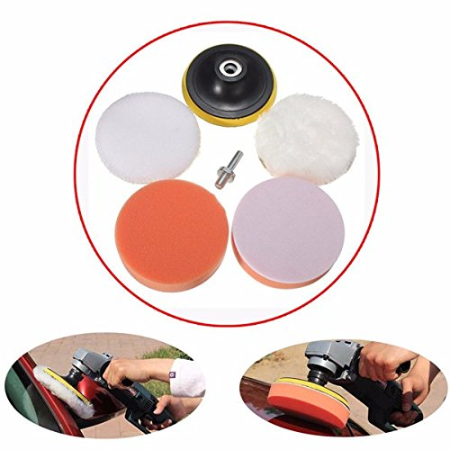 Letbo New 6pcs 4 Inch Sponge and Woolen Polishing Buffing Pad Kit For Car Polisher