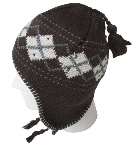 EarFlap Beanie Hat, Acrylic knit with soft warmlining, Men Size, Color Brown, Argyle Design
