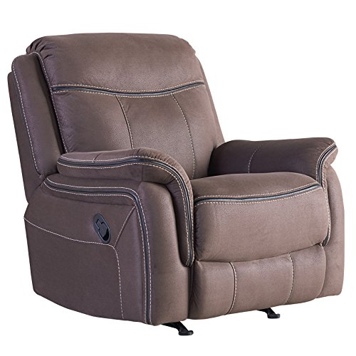 Champion Taupe Color Faux Leather Pillow Top Arm Manual Motion Rocker Recliner (Recliner Rocker Taupe)