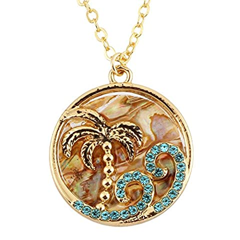 PANGRUI Exquisite Lovely Oceanic Style Coconut Tree and Sea Wave Pendant Abalone Shell Necklace - Coconut Shell Pendant