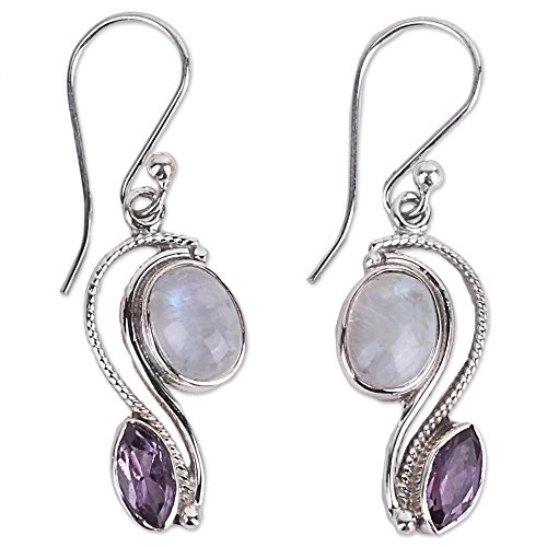(NOVICA Multi-Gem Rainbow Moonstone .925 Sterling Silver Dangle Earrings 'Colorful Curves')