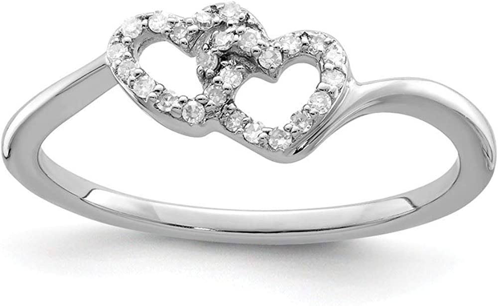 Sterling Silver 2 MM Diamond Double Heart Promise Ring