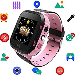 Kids Smartwatch with GPS Tracker Phone Remote Monitor Camera Touch Screen One Game Anti Lost Alarm Clock App Control by Parents for Children Boys Girls Compatible with Android iPhone (03 A16E Pink)
