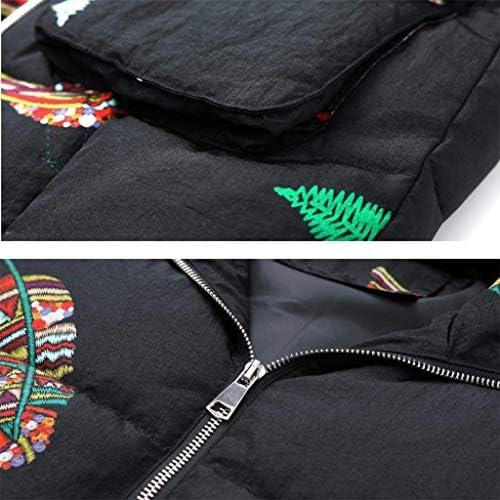 Yan qing shop Nero Gilet for Le Donne con Le Tasche Grandi, Piuma Ricamo Caldo Vest con Cappuccio, Rivestimento di Inverno Sciolto Senza Maniche delle Donne (Taglia : XL)