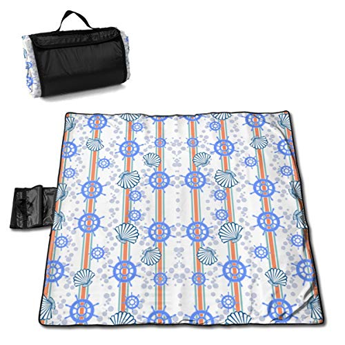 (JHNDKJS French Riviera Nautical Wallpaper Camco Handy Mat with Strap, Perfect for Picnics, Beaches, RV and Outings, Weather-Proof and Mold- Mildew Resistant)