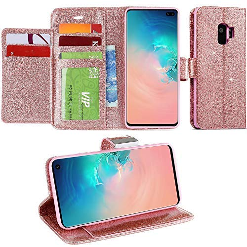 (For Galaxy S6 Edge Case, Galaxy S6 Edge Wallet Case, LCHULLE Luxury Shiny Sparkle Glitter Bling PU Leather [Magnetic Closure][Metal Buckle] Flip Folio Kickstand Wallet Case with 6 Card Slots-Rose Gold)
