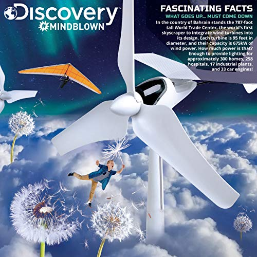 Discovery Mindblown Wind Turbine Glider Kit, STEM Science Experiment for Kids, Fun Home Engineering Project for Boys and Girls, Green Energy Powers Soaring Motorized Glider, Battery-Free + LED Lights by Discovery Mindblown (Image #1)