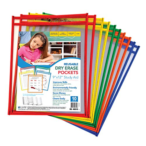 C-Line Reusable Dry Erase Pockets, 9 x 12 Inches, Assorted Primary Colors, 10 Pockets per Pack (40610) ()
