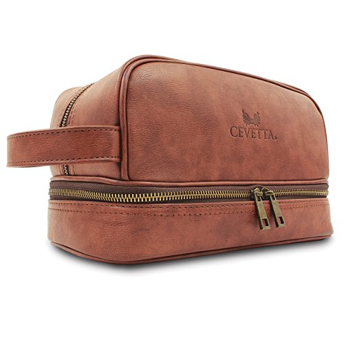 Cevetta Leather Toiletry Bag For Men (Dopp Kit) with free Travel Bottles (Bag Toiletry Leather)