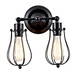 Industrial Wall Sconce, Csinos Retro Wall Sconce Lighting Black Rustic 2-light Wall Lamp Wire Caged Wall Light