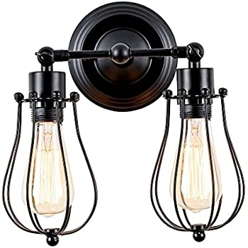 Industrial wall sconce csinos retro wall sconce lighting black industrial wall sconce csinos retro wall sconce lighting black rustic 2 light wall lamp mozeypictures Images
