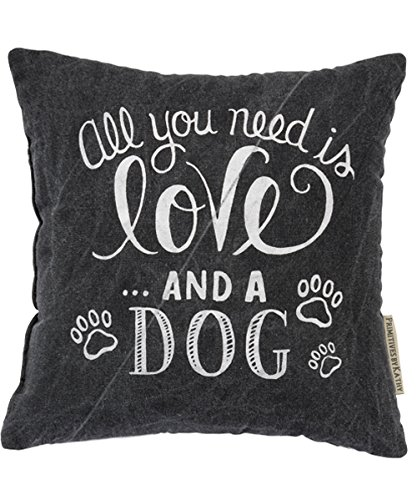 Primitives by Kathy Chalk Throw Pillow, 10-Inch Square, Love and a Dog by Primitives by Kathy
