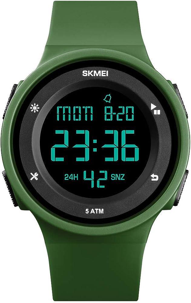TONSHEN Simple Fashion Relojes Deportivo Mujer Outdoor Militar Impermeable 50M Resistente al Agua LED Electrónica Doble Tiempo Alarma Reloj Digital Plastico Caja y Goma Correa
