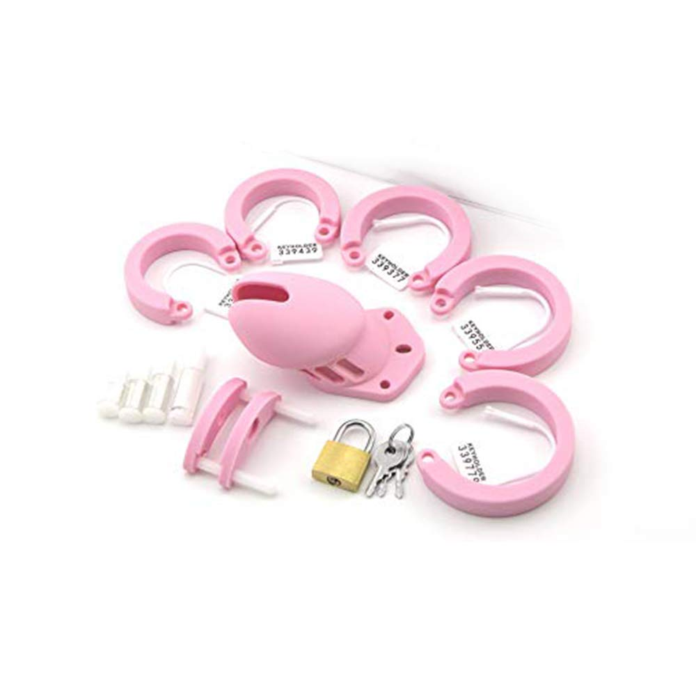 SEX-LUCKY FAT GIRL Medical Grade Men's Silicone Massager, 5 Rings (Pink, Short)