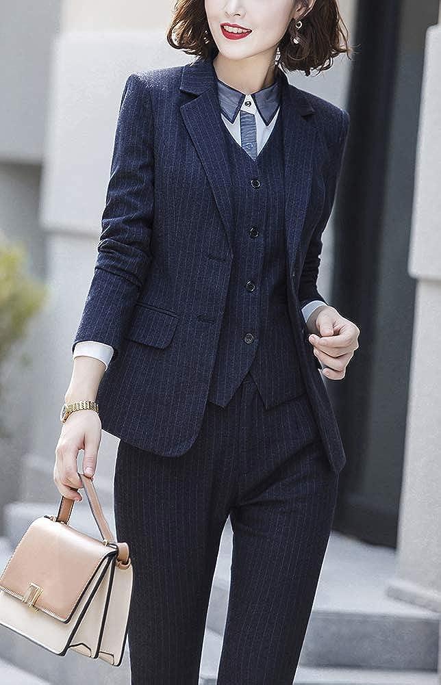 Donna Tre Pezzi Ufficio Lady Stripe Blazer Business Suit Set Donne Tute Gonna Lavoro Pantaloni Vest Giacca Tailleur Pantalone Donna