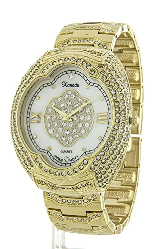 [TRENDY FASHION JEWELRY ELEGANT BIG STONE CASE WATCH BY FASHION DESTINATION | (Gold)] (Dallas Wholesaler Costumes Jewelry)