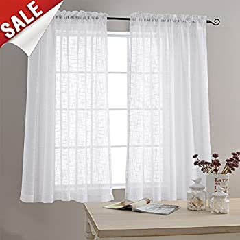 Linen Textured Sheer Window Curtains For Bedroom 63 Inches Long White Curtain Living Room