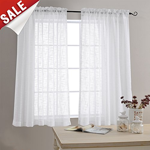 Linen Textured Sheer Window Curtains for Bedroom 63 inches L