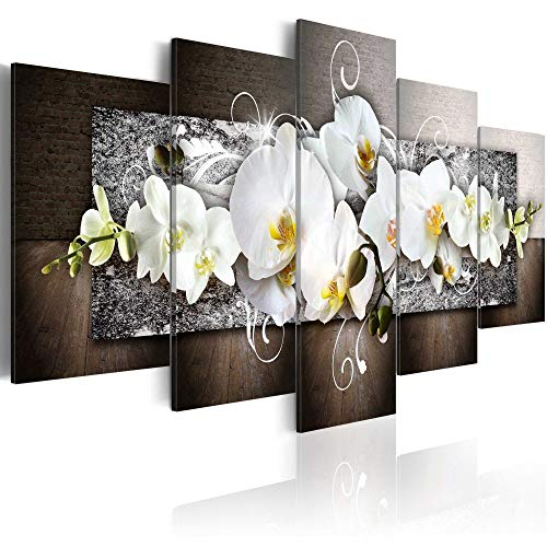 Orchid Flowers Floral Canvas Print Abstract Design Wall Art Painting Decor for Home Decoration Artwork Pictures Bedroom Flower (A, Over Size 60''x30'') (Abstract Wall Art Design)