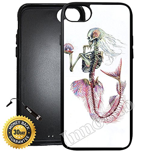 Custom iPhone 8 Case (Mermaid Skeleton) Edge-to-Edge Rubber Black Cover with Shock and Scratch Protection | Lightweight, Ultra-Slim | Includes Stylus Pen by INNOSUB ()
