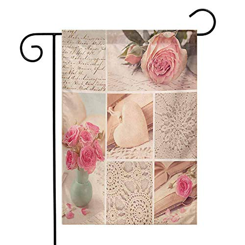 Mannwarehouse Shabby Chic Garden Flag Collage Photos Lace Roses Flower Leaves Old Art Print Decorative Flags for Garden Yard Lawn W12 x L18 Pale Pink Forest Green and White ()