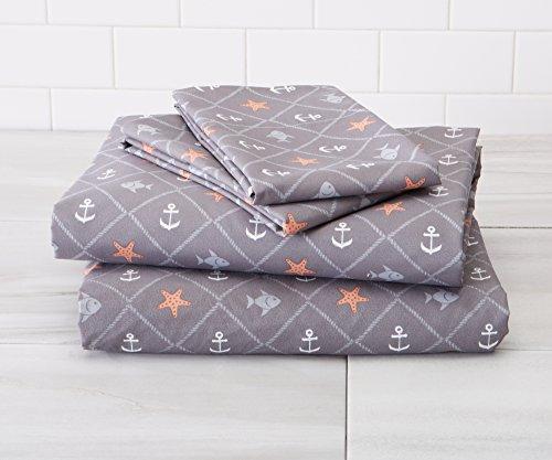 Great Bay Home Ultra-Soft Double-Brushed Coastal Printed Microfiber Sheet Set. Beautiful Patterns, Comfortable, All-Season Bed Sheets Brand. (Twin, St. - Set Sheet Bay