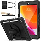 SEYMAC Stock iPad 8th/7th Generation Case, Three Layer Hybrid Drop Protection Case with [360 Rotating Stand] Hand Strap &[Stylus Pencil Holder] for 2020/2019 New iPad 8 /7 Generation 10.2 Inch (Black)