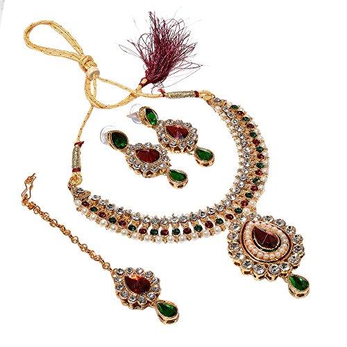 Necklace Set Kundan Polki Jade Red Green Gemstone With Tika Jewelry 6749
