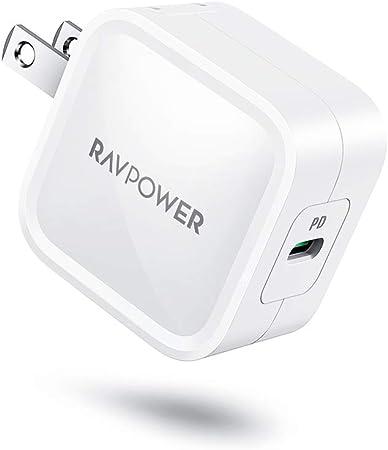 RAVPower USB-C 急速充電器 (30W 最小クラス PD対応)【GaN (窒化ガリウム)採用/折畳式/PSE認証済】iPhone 11/11 Pro/XR/8、GalaxyS10、MacBook、iPad Pro、Nintendo Switchその他USB-C機器対応 RP-PC120(ホワイト)