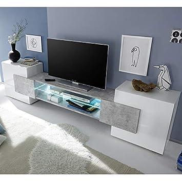 Kasalinea Mueble TV Design Lacado Blanco Brillante y Efecto hormigón Eros con iluminación: Amazon.es: Hogar