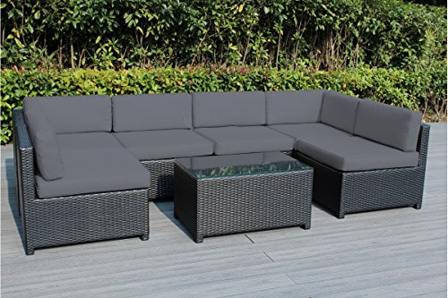 - Ohana Mezzo 7-Piece Outdoor Wicker Patio Furniture Sectional Conversation Set, Black Wicker with Gray Cushions - No Assembly with Free Patio Cover