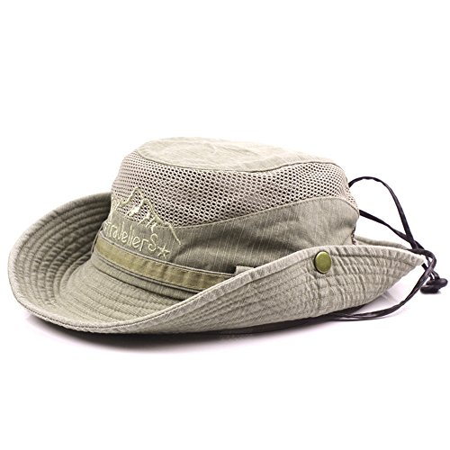 Mens Sunshade Cap Cotton Embroidery Bucket Hats Mesh Breathable Fisherman Hat (Khaki) (Bucket Beige)