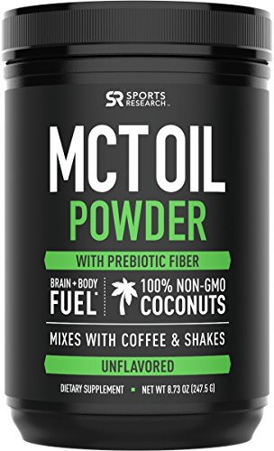 MCT Oil Powder with Prebiotic Acacia Fiber (Zero Net Carbs) | A Keto Friendly, Fat & Fiber Source for Sustained Energy, Appetite Control & Gut Health | Mixes Instantly in Coffee, Smoothies & More!