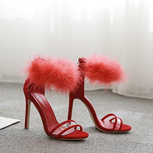 ZHZNVX La nueva, en ambos de los cuales eran de de celosía con rocío de plástico transparente sexy-toe sandalias red
