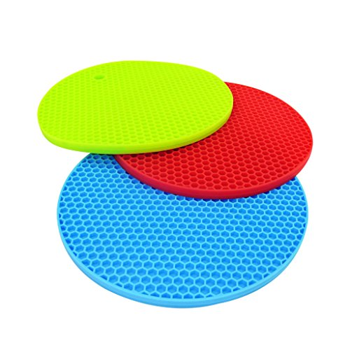LESCA TEK 8mm Round Heat Insulation, Silicone Trivet, Pot Holder, Hot Pads, Perfect For Modern Home Decor, Silicone Heat Resistant Coasters, Cup Insulation Mat, Tableware Insulation Pad Potholders Insulation Non-slip Mat, Non Slip, Flexible, Durable, Heat Resistant