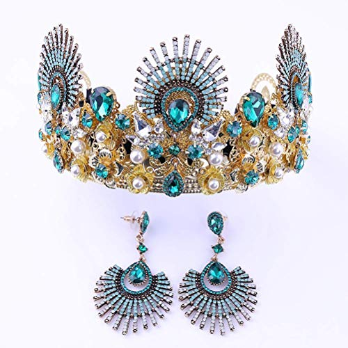 cuhair Crystal Rhinestone Peacock Crown Headband Hair Accessories With Same Earrings For Women Wedding Birthday Party (blue)