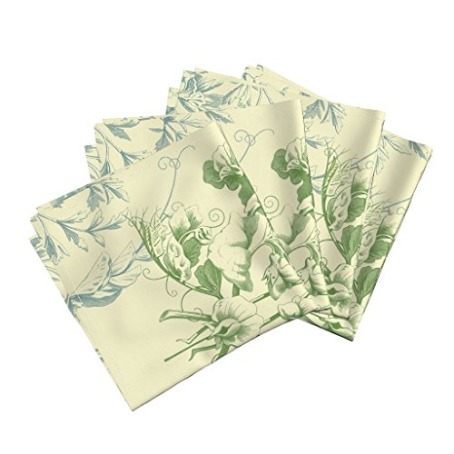 (Roostery Damask Floral Botanical Yellow Cream Blue Green Organic Sateen Dinner Napkins Floral Damask ~ Provencal by Peacoquettedesigns Set of 4 Dinner Napkins)