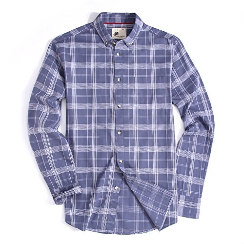 aid Long Sleeve Washed Casual Button Down Shirt(Gray,Medium) ()