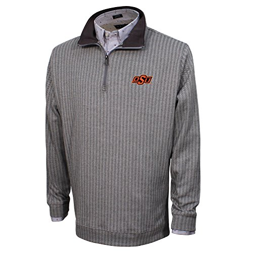 Oklahoma Pullover (Vesi NCAA Oklahoma State Cowboys Men's Herringbone Quarter Zip Pullover, Charcoal/Gray, XX-Large)