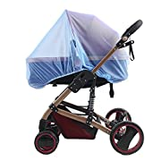 Baby Stroller Mosquito Net, Insect Netting ForPram, Buggy, InfantCarriers, Car Seats, Cradles, Cribs, Bassinets, Playpens, Portable & Durable Strollers Full Mesh Cover (Blue)