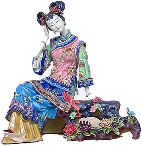 Lady on The Flower Bench – Porcelain Figurine Oriental Sculpture