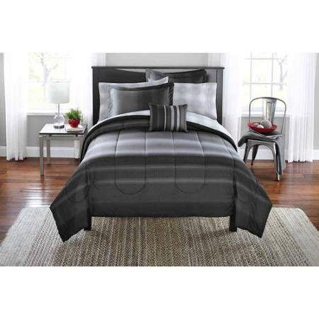 Mainstays Ombre Bed in a Bag Bedding Set, Dark Gray, QUEEN