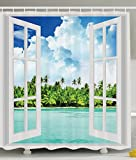 Ambesonne Ocean Shower Curtain Decor by, Palm Trees Tropical Island Beach Nature Paradise Panoramic Picture Through Wooden Windows Scene Theme, Polyester Fabric Set, Blue White Green Turquoise White