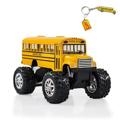 Yellow Monster School Bus   Big Wheel Die Cast   Pull Back   Plus Bus Keychain Gift